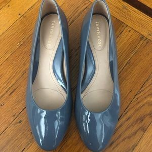 Taryn Rose Babs Patent blue leather wedges heels